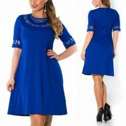 Dantel ile krep mavi elbise. r.52-54.