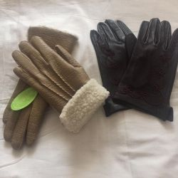 Gloves of wives. Leather