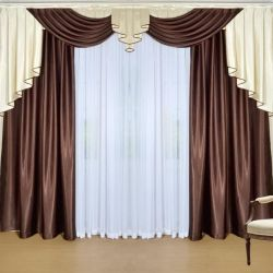 Set of curtains with a lambrequin Donna wenge 250