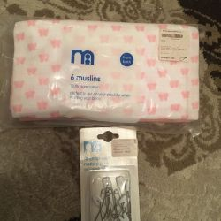 Muslin napkins + pins for diapers