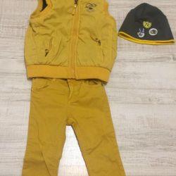 2 gr için set (kot pantolon, şapka, yelek ve süveter)