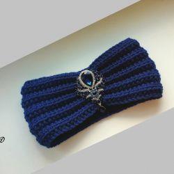Dark Blue Turban Bandage with a Brooch
