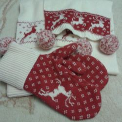 New mittens with a scarf set