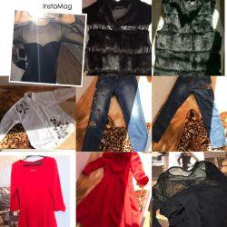 Mink vest, jeans, shirt