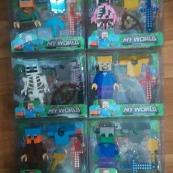 Minecraft figures with accessories in a blister