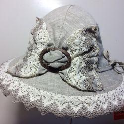 Шляпка на лето, лeн Кострома. Арт 018,размер 53-56