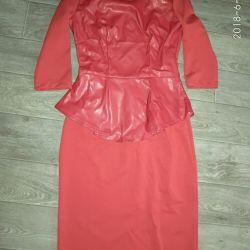Φόρεμα κόκκινο με μπάσκετ από οικολογικό δέρμα