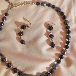 Set of natural black pearls and hematite