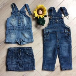 Denim overalls and skirt size 74
