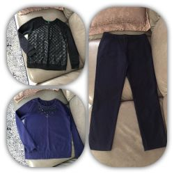 Stylish navy trousers and sweaters