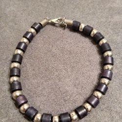 Браслет Змейка бусинки черного и серебряного цвета