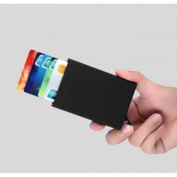 Business card holder with semi-automatic card issue