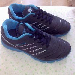 Blue sneakers.