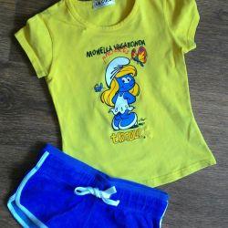 👕Set t-shirt smurfs and shorts 110