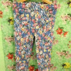 Брюки детские голубые с цветочками р. 98-104