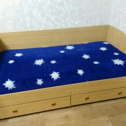 Bed with drawers + mattress + plaid