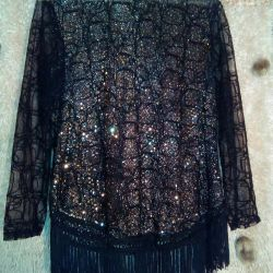Golden, guipure blouse with fringe, p.52-54