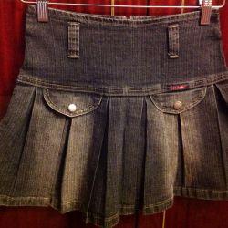 Denim skirt pleated