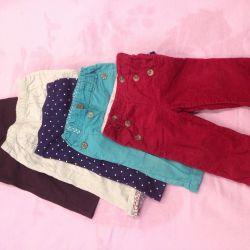 Pants (5pcs) leggings for a girl 6-12 months.
