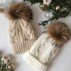 New cap with a natural pompon
