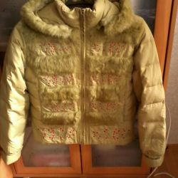 down jacket, length 60 cm, fur natures., used