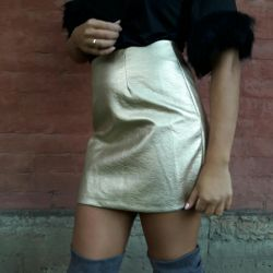 New skirt gold leather 42-44