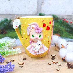 Bunny. Polymer clay mug decor