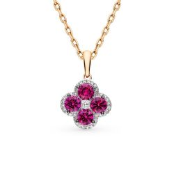 Gold pendant with rubies and diamonds