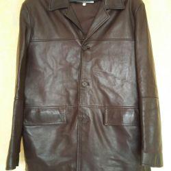 Кожаная куртка-пиджак, мужской, коричневый цвет