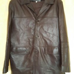 Leather jacket-jacket, male, brown
