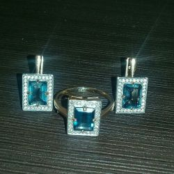 Earrings and a ring 17.5r with diamonds