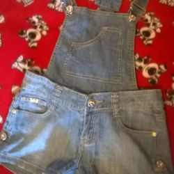 Selling denim overalls-shorts