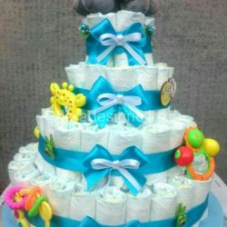 Cakes of diapers and baby products
