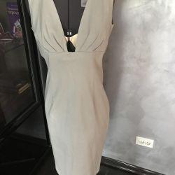 Dress 44-46 r, linen on silk, gray, Italy