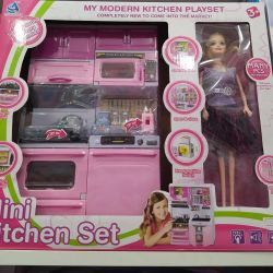 Game set kitchen with a doll