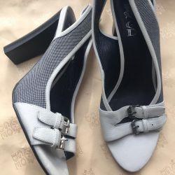 Sandale noi, textile, piele, p37 Italia 🇮🇹