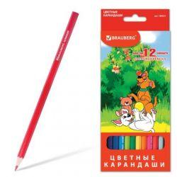 Χρωματιστά μολύβια BRAUBERG, 12 χρώματα, ακονισμένα