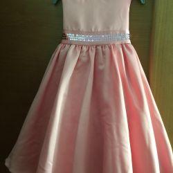 The dress is elegant satin