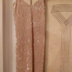 Velvet bej rochie