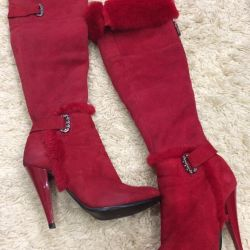 Natural suede and fur boots