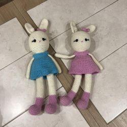 Knitted children toys