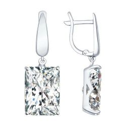 Earrings long from silver with cubic Zirkonia
