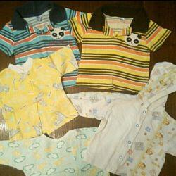 Erkek giyimi (3-6 ay): vücut, Tişörtler