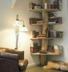 Tree with shelves in the room.