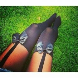 Tights. Imitation stockings with bows