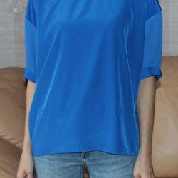 Блузка свободного размера синяя