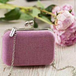Clutch bag amethyst color.