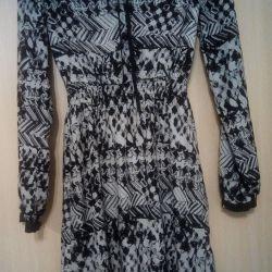 Платье черно-белое с длинным рукавом