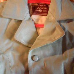 Beautiful, turquoise jacket jacket, leather, 48-50