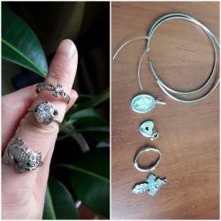 Silver 925 rings 18-19r-r, earrings